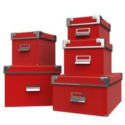Closed box red. 3D graphic - stock illustration