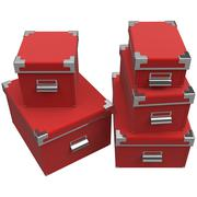Boxes with chrome handles. 3D graphic - stock illustration
