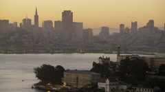 Aerial sunrise view The Rock Alcatraz Island San Francisco America Stock Footage