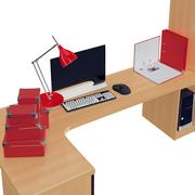 PC table with high definition widescreen monitor on it and other office stuff - stock illustration