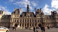 Hotel de Ville, the city hall of Paris. France. 4K. - stock footage