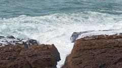 Big Ocean Waves Breaking on Rocks, storm weather Stock Footage