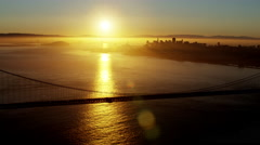 Aerial sunrise view San Francisco California Golden Gate USA Stock Footage