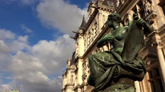 Hotel de Ville, the city hall of Paris. France. 4K. Stock Footage