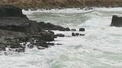 Big Ocean Waves Breaking on Rocks, storm weather - stock footage