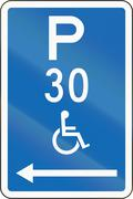 New Zealand road sign - Parking zone reserved for disabled persons with time  - stock illustration