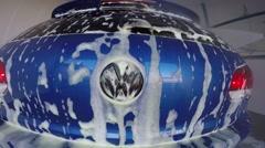 Pressure washing car logo Stock Footage