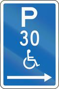 Stock Illustration of New Zealand road sign - Parking zone reserved for disabled persons with time