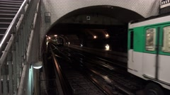 Metro in Paris. The train in the subway. 4K. Stock Footage