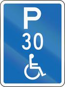 New Zealand road sign - This parking space is reserved for disabled persons,  - stock illustration