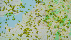 Many crowd airplanes flight above europe 4K Stock Footage