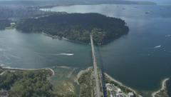Aerail - Lions Gate Bridge and Stanley Park. - stock footage