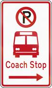 New Zealand road sign - Coach stop - stock illustration