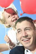 A summer holidays, celebration, children and father concept Stock Photos