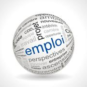 Stock Illustration of French employment theme sphere with keywords
