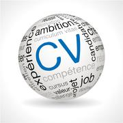 French CV theme sphere with keywords - stock illustration