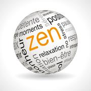 French Zen theme sphere with keywords - stock illustration