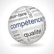 Stock Illustration of French competence theme sphere with keywords