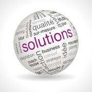 Stock Illustration of French Solutions theme sphere with keywords