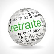 Stock Illustration of French Retirement theme sphere with keywords