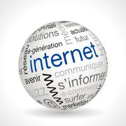 French internet theme sphere with keywords - stock illustration