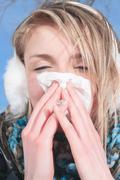 Beautiful woman flu Stock Photos