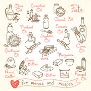Set drawings of milk and dairy products for design menus, recipes - stock illustration