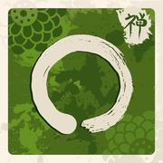 Green zen circle illustration traditional enso Stock Illustration