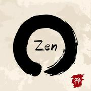 Zen circle illustration traditional enso - stock illustration