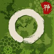 Green zen circle illustration traditional enso Stock Illustration