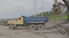 Truck at a construction site - stock footage