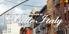 Welcome to Little Italy sign in Lower Manhattan. Stock Photos