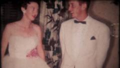 2682 - young couple ready for high school prom - vintage film home movie Stock Footage