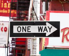 One Way street sign in New York City Kuvituskuvat