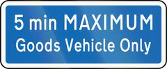 New Zealand road sign - Parking for goods vehicles only, 5 minute maximum - stock illustration