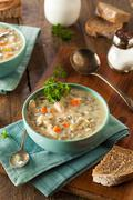 Homemade Wild Rice and Chicken Soup - stock photo