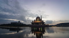 Putrajaya, Malaysia - Timelapse of the Iconic Putra Mosque Stock Footage