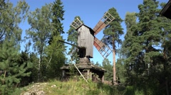 A traditional wooden windmill (in 4k) on Seurasaari Island, Helsinki, Finland. Stock Footage