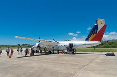 commercial propeller jet - stock photo