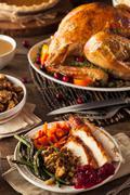 Full Homemade Thanksgiving Dinner - stock photo