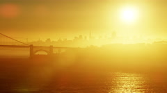 Stock Video Footage of Aerial sunrise view San Francisco California Golden Gate Route 101 USA