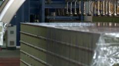 Close-up of machine packs sandwich panels Stock Footage