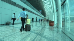 Guangzhou airport terminal tunnel, businessman,time lapse Stock Footage