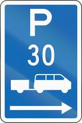 New Zealand road sign - Parking zone for shuttles with time limit, on the rig - stock illustration