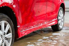 Car wash with soap, car cleaning service Stock Photos