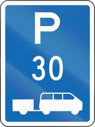 New Zealand road sign - Parking zone for shuttles with time limit - stock illustration