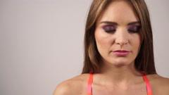 Woman closed eyes dark makeup shadows on eyelid 4K Stock Footage