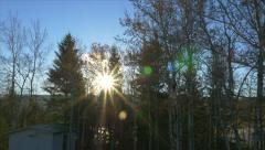 Sunrise Lens Flare Timelapse Trees Clouds River Forest Scenic Winter - stock footage