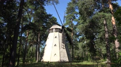 A traditional Finnish wooden windmill, Seurasaari Island, Helsinki, Finland. Stock Footage