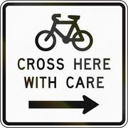 New Zealand road sign - Sign advising cyclist to cross with care Stock Illustration